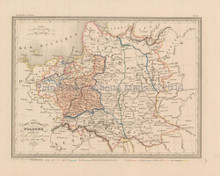 Historic Poland Antique Map Malte Brun 1850