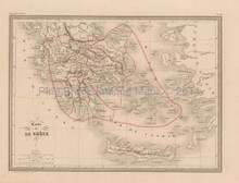 Greece Antique Map Malte Brun 1850