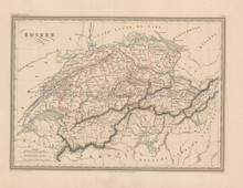 Switzerland Antique Map Malte Brun 1850