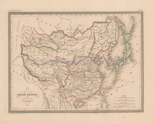 China Japan Antique Map Malte Brun 1850