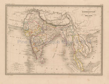 India Antique Map Malte Brun 1850