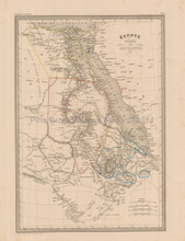 Egypt Antique Map Malte Brun 1850