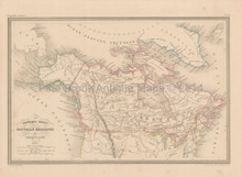 Canada Alaska Antique Map Malte Brun 1850