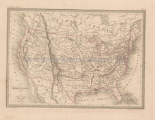 United States Antique Map Malte Brun 1850
