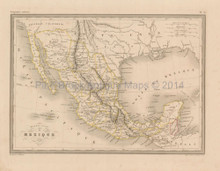 Mexico Antique Map Malte Brun 1850