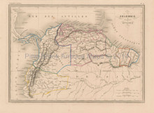 Colombia Venezuela Antique Map Malte Brun 1850
