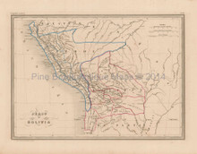 Peru Bolivia Antique Map Malte Brun 1850