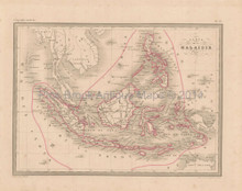 Indonesia Antique Map Malte Brun 1850