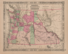 Washington Oregon Idaho Antique Map Johnson 1865