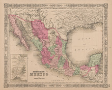 Mexico Antique Map Johnson 1865