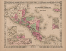 Central America Antique Map Johnson 1865