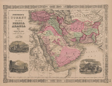 Turkey Persia Arabia Antique Map Johnson 1865