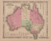 Australia Antique Map Johnson 1865