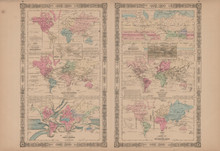 Physical Map of the World Antique Map Johnson 1865