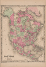 North America Antique Map Johnson 1865