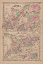 Lower Upper Canada Antique Map Johnson 1865