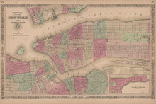 New York City Antique Map Johnson 1865