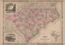 North South Carolina Antique Map Johnson 1865