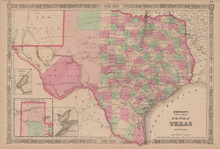 Texas Antique Map Johnson 1865