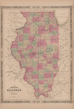 Illinois Antique Map Johnson 1865
