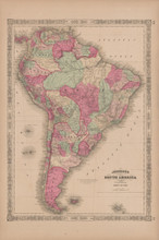 South America Antique Map Johnson 1865