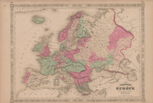 Europe Antique Map Johnson 1865