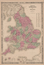 England Wales Antique Map Johnson 1865