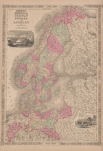 Prussia Scandinavia Antique Map Johnson 1865