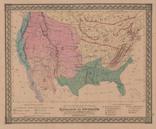 United States Zoological Antique Map Gray 1876