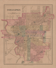 Indianapolis Antique Map Gray 1876