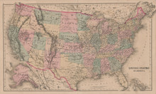 United States Antique Map Gray 1876