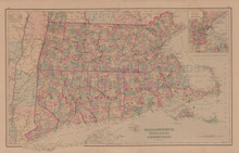 Massachusetts Connecticut Antique Map Gray 1876