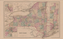 New York State Antique Map Gray 1876