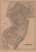 New Jersey Antique Map Gray 1876