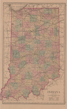 Indiana Antique Map Gray 1876