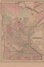 Minnesota Antique Map Gray 1876