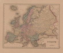 Europe British Isles Antique Map Gray 1876