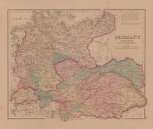 Germany Austria France Antique Map Gray 1876