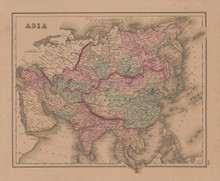 Asia Africa Antique Map Gray 1876