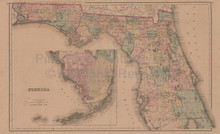 Florida Georgia Alabama Antique Map Gray 1876