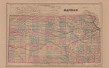 Kansas Colorado Antique Map Gray 1876