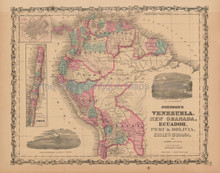 Venezuela Colombia Antique Map Johnson 1863