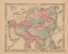 Asian Continent Antique Map Johnson 1863