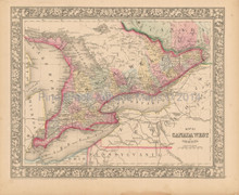 Canada West Ontario Antique Map Mitchell 1866