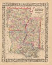 Louisiana Mississippi Antique Map Mitchell 1866