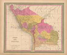 Peru Bolivia Antique Map Mitchell 1847