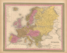 European Continent Antique Map Mitchell 1847