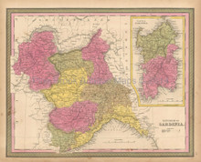Kingdom Sardinia Antique Map Mitchell 1847