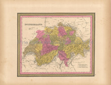 Switzerland Antique Map Mitchell 1847