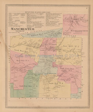 Manchester Connecticut Antique Map Baker Tilden 1869